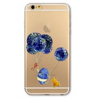 For iPhone cover 6 Plus Silicon transparent with flowers White