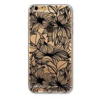 For iPhone cover 6 Plus Silicon transparent black ornate with flowers
