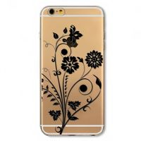 Cover  For iPhone 6pluse transparent silicone Black Rose Flower