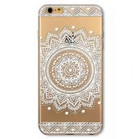 Cover  For iPhone 6 transparent silicone white Rose