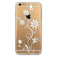 Cover  For iPhone 6pluse transparent silicone White flower