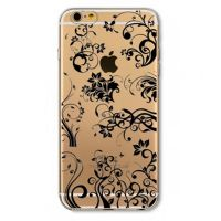 Cover For iPhone 6pluse transparent silicone Inscriptions black