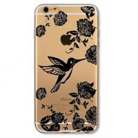 Cover  For iPhone 6plus transparent silicone Black bird