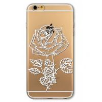 Cover  For iPhone 6plus transparent silicone Rose Gori white