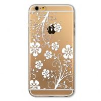 Cover For iPhone 6plus transparent silicone White Rose