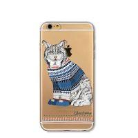 Cover For iPhone 6plus S transparent silicone Distinctive cat