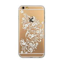 Cover For iPhone 6plus transparent silicone White Flower Paisley