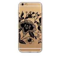 Cover  For iPhone 6plus S transparent silicone Black Flowers