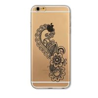 Cover For iPhone 6plus S transparent silicone Rose, patterned black