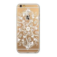 Cover For iPhone 6plus S transparent silicone Large white flower, vegetable