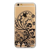 Cover For iPhone 6plus S transparent silicone The distinctive black ornament