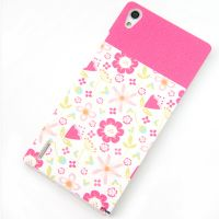 Cover Huawei Ascend P7 plastic rubbery flowers+Adhesive screen