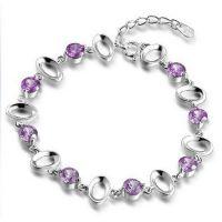 925 silver bracelet with Crystal Purple
