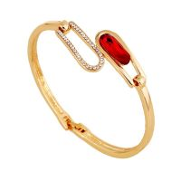 flowergirl  Stylish bracelet with red zircon - White studded with crystals - 18 K gold-plated