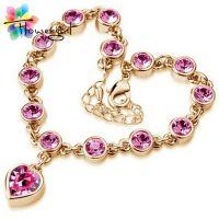 Elegant  crystal  Heart Bracelet- gold-plated