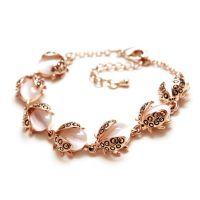 Flowergirl Ladybug crystal bracelet - gold / silver plated