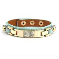 Bamoer Elegant leather bracelet studded with crystals
