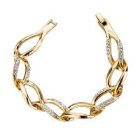 Elegant bracelet - studded with Austrian crystals - gold-plated / silver