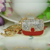 Key Chain red bag - with 18 K gold-plated  - inlaid with Rhine stone