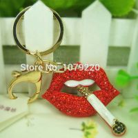 Red lips keychain with a cigarette - with 18 K gold-plated  - inlaid with Rhine stone