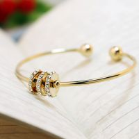 Gold-plated bracelet with cubic zirconia