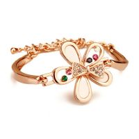 Gold-plated bracelet studded with crystals luxury - leaves, flowers