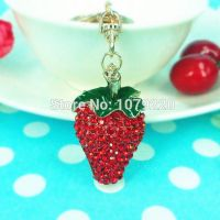 KeyChain - the strawberry - studded with  Red Rhine stone