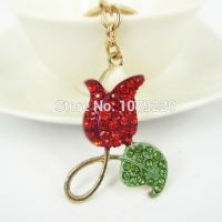 KeyChain - red flower - studded with Red Rhine stone