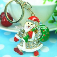 Keychain  - Santa Claus - studded with Rhinestone