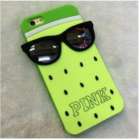 Cover Iphone 6 Plus plastic Rubber Strawberry yellow glasses