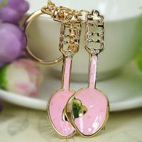 Painted keys chain gold 18 studded with rhinestones and crystal stones - spoon