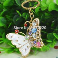 Painted keys chain gold 18 studded with rhinestones and crystal stones - Butterfly