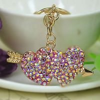 Painted keys chain gold 18 studded with rhinestones and crystal stones - two heart and shares