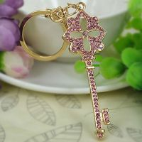Painted keys chain gold 18 studded with rhinestones and crystal stones - Pink Key