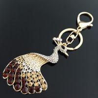 Keychain  - wonderful peacock - studded with Rhinestone