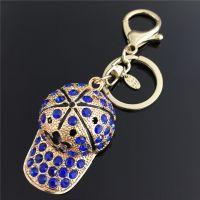 Keychain - childrenhat - studded with blue rhinestones