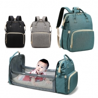 Multifunctional Mummy Backpack Baby Diaper and Bed, with USB Charger