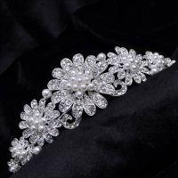 Bride crown rhinestone studded with pearls