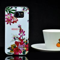 Cover Galaxy S6 Edge Plastic Rubber flowers white