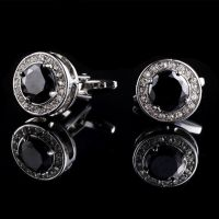 Cufflinks - silver-plated - with black Crystal
