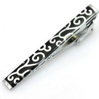 Tie clip -  black with white motifs - a sophisticated design
