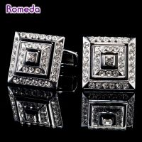 ROMED Cufflinks for men - silver-plated - studded with crystals