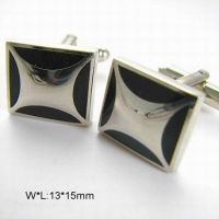 Cufflinks for men - silver plated with black enamel material