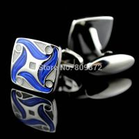 Cufflinks for men - Blue color square - silver-plated
