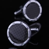 Cufflinks for men - black enamel - Elegant design