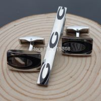 Cufflinks for men with Tie clip - the letter G - Silver color with black