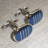 Cufflinks for men (1 pair) - oval shaped with a blue enamel material - Luxury design
