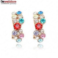 Plated earrings studded with Austrian crystals - Panel colored crystal