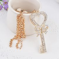 keychain -  shape key to the heart of love - studded with crystals