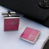 laobotou Cufflinks - silver-plated - pink square